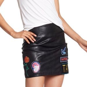 Neon Signs Patchwork Faux Leather Skirt